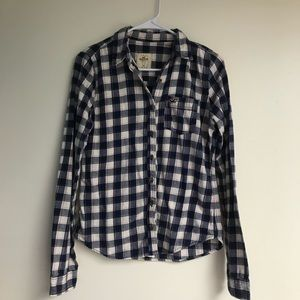 Hollister Navy, White and Pink Flannel